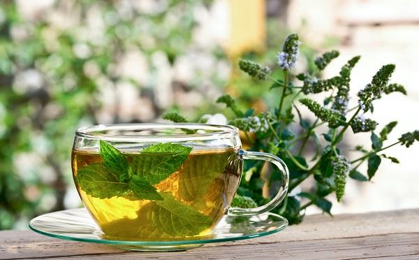 zaparzona herbata z liści mięty